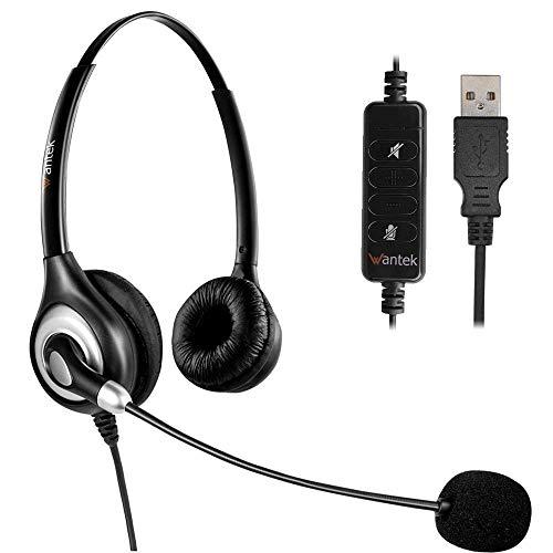 USB Headset Stereo mit Noise Cancelling Mikrofon und Lautstärkeregler, Wantek UC Business Kopfhörer für Skype, SoftPhone, Call Center, Kristallklarem Chat, Superleicht, Ultra Komfort(UC602) -
