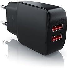 CSL - 2A Cargador de red USB 2 Puertos | Fuente de alimentación | bloque de alimentación USB | Adaptador de Corriente para iPhone X / 8 / 7 / iPad Air / Pro / Samsung Galaxy / HTC / Nexus y otros | Negro