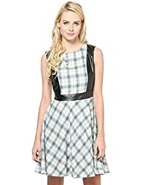 CHECKERED DRESS WITH PU