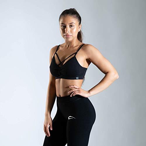 SMILODOX Sport Bra Jelly   Fitness-BH ohne Bügel   Herausnehmbare Cups   Bustier für Pilates Yoga Gym Fitness   Soft Büstenhalter, Farbe:Schwarz, Größe:S - 4