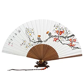 Hand Painted Folding Red and White Korean Plum Flower Mulberry Rice White Paper Bamboo Art Handheld Decorative Fan