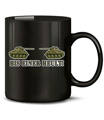 love-all-my-shirts Bis Einer heult 4394 Soldat Fun Tasse Becher Kaffeetasse Kaffeebecher Schwarz