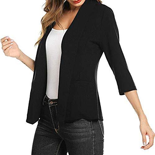 feiXIANG Ufficio Tailleur Donna Elegante Corto Blazer Cardigan Donna Corto  Coprispalle Elegante con Maniche 3  3bffb589b0e