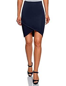 oodji Ultra Mujer Falda de Punto con Parte Inferior Asimétrica