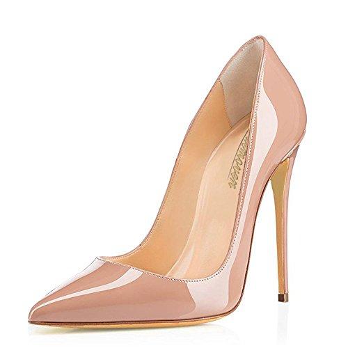 Modemoven Spitzen Stiletto High Heels,Damenschuhe Pumps,Lackschuhe Damen,Hochzeitsschuhe Damen Beige
