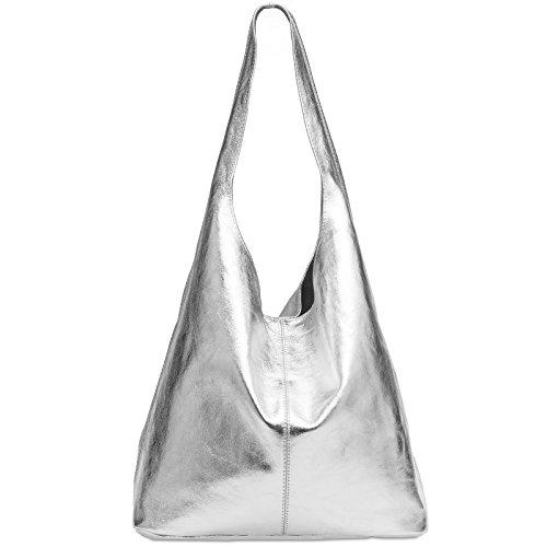 CASPAR TL767 Damen große Vintage Velourleder Tasche Ledertasche Beuteltasche Schultertasche Shopper Handtasche, Farbe:silber metallic;Größe:One Size