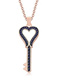 """Silvernshine 1.35 Ct Blue Sapphire Heart Key Pendant 18"""" Chain Necklace In 14K Rose Gold Fn"""