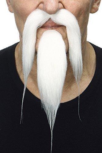 Mustaches Selbstklebende Neuheit Shaolin Fälscher Bart und Fälscher Schnurrbart für Erwachsene Weißer Farbe