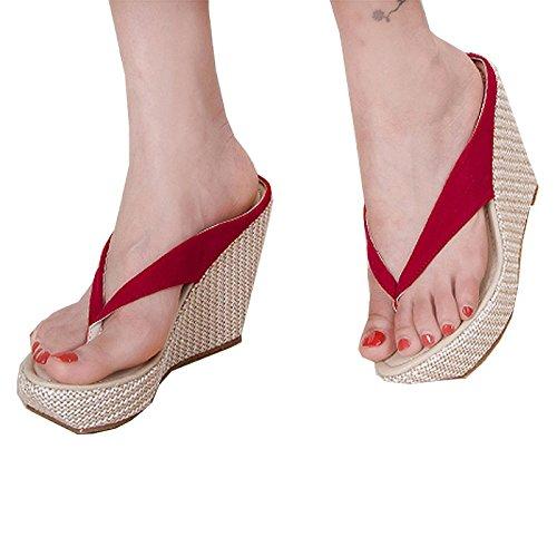 Donalworld Femmes Summer Beach Chaussures T Strap épais Sole Sandals Flip Flops Sandales Compensées Rose