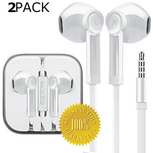 Ultimate-Audio 3.0 In-Ear-Kopfhörer, Ultra Stereo Mikrofon und Fernbedienung, kompatibel mit iPhone, iPad, iPod, Samsung Galaxy und Android Smartphones, PC 3,5 mm Klinkenstecker 2-Pack weiß Apple Ipod Ear-kopfhörer
