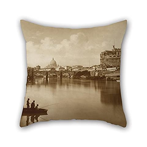 Loveloveu Oil Painting Attributed To James Anderson (pseudonym Of Isaac Atkinson) - View Of The Tiber, With Castle St. Angelo And Fisherman Pillow Cases ,best For Home,family,lover,valentine,bedding