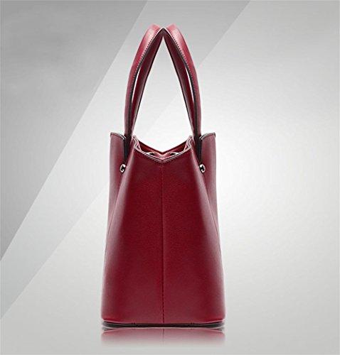 YANX Madam Fashion PU-Nieten-Handtaschen-Damen-Schulter-BeutelTote (33 * 24 * 15.5cm) Red