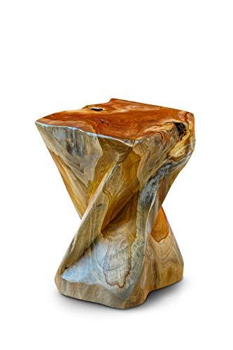 Kinaree Teak Massivholz Beistelltisch BAN PHAI - 43cm Wurzelholz Baumstamm Hocker, Blumenständer, Nachttisch, Blumenhocker
