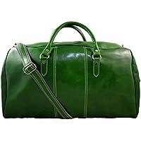 559bfabb68 Borsone uomo donna borsa viaggio con manici e tracolla vera pelle verde  borsa palestra borsa cabina