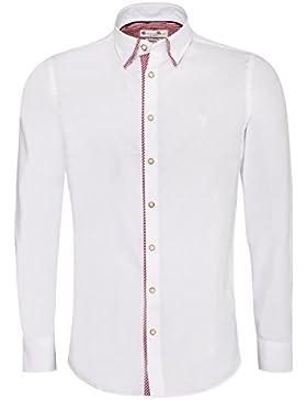 Gweih und Silk Trachtenhemd Body Fit Xandi Zweifarbig in Weiß und Rot