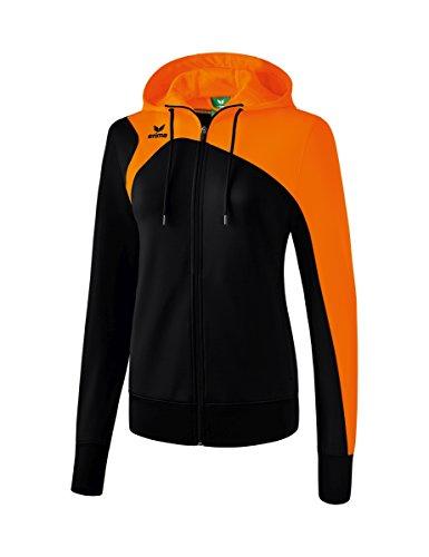 Erima Damen Club 1900 2.0 Trainingsjacke, mit Kapuze, schwarz/orange, 34