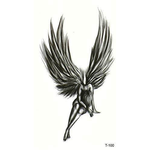 Justfox - tatuaggio temporaneo angelo fata nero design temporary klebetattoo corpo arte