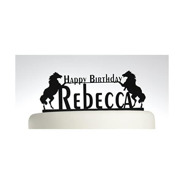 Birthday Cake topper Personalised Happy Birthday YOUR NAME. Horse, pony. Ideal birthday cake decoration, birthday party Acrylic cake topper, Available in Gold Mirror, Gold Sparkle, Silver Mirror, Silver Sparkle, Bronze Mirror, Black,Blue, Pink, Red,Purple, Yellow and White 415pGHCEskL