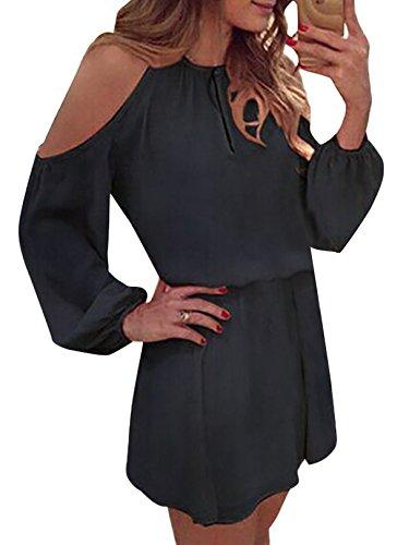 YOINS Sommerkleid Damen Kurz Schulterfrei Kleid Elegante Kleider für Damen Strandmode Langarm Neckholder A Linie Schwarz-1 EU40-42(Kleiner als Reguläre Größe)