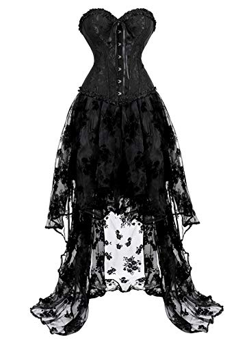 Women's Sexy Gothic Lace up Corset Moulin Rouge Can Can Dress with Long Skirt Set Large Black