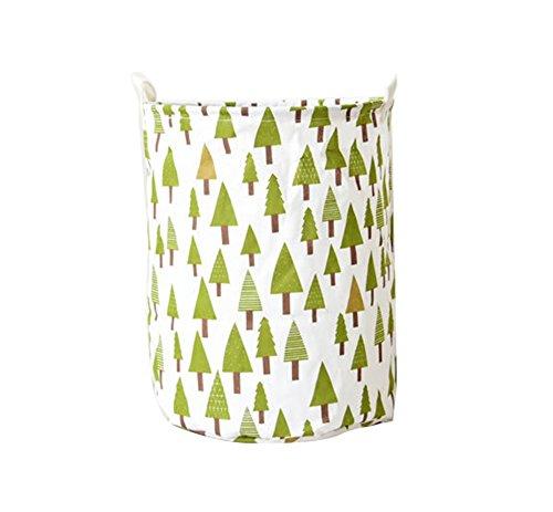 Bag Storage Tree (YOUJIA Faltbar Wäschesack Wäschesammler Wäschebox Rund | Leinen Wäschekorb Stoff Haushalt Organizer Korb | Stoff Wäschebehälter für Schmutzwäsche (Tree, 35*45cm))