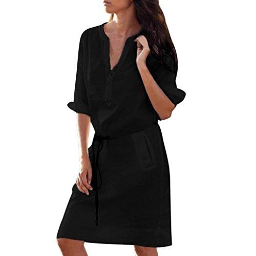 VEMOW Sommer Herbst Mid-Season Elegante Damen Frauen Maxi Half Sleeve Tasten mit V-Ausschnitt Kleid Casual Daily Party Strand lose dünne Tasche Shirt Kleider(Schwarz, EU-42/CN-M) Sleeve Maxi