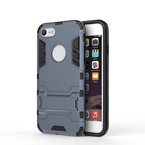 iphone 7 Custodia, Ultra Sottile 2-in-1 Cases Protettivo Estrema Assorbimento-Urti Kickstand Armatura Cover Per iphone 7. (Rosso) Nero