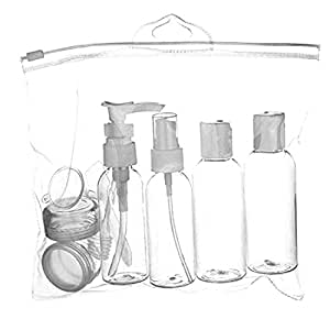DI GRAZIA Leak Proof BPA Free White Cosmetic Travel Containers (Set of 6)