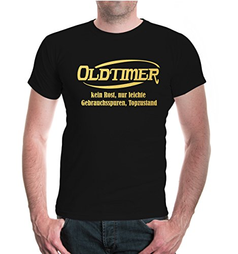 buXsbaum® T-Shirt Oldtimer-kein Rost, nur leichte Gebrauchsspuren, Topzustand Black-Gold