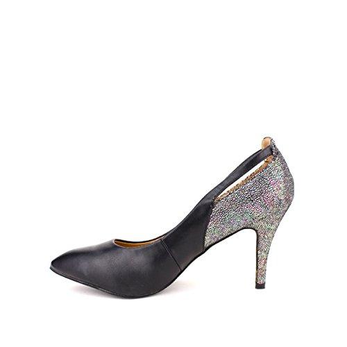 Cendriyon, Escarpin noir bi matière GLAM Chaussures Femme Noir