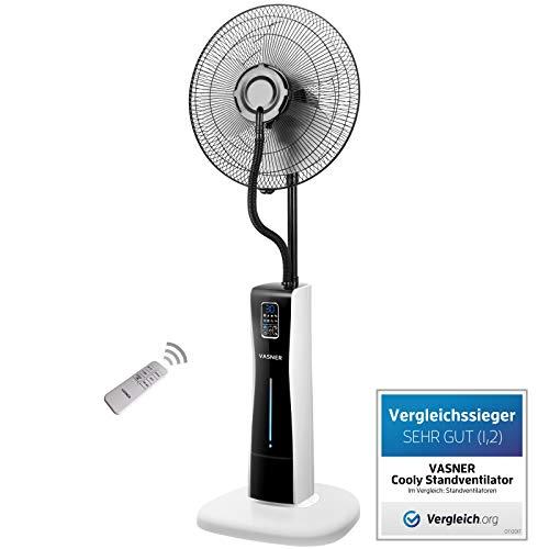 VASNER Stand-Ventilator Cooly - mit Wasser Ultraschall-Sprühnebel, Fernbedienung, weiss schwarz, leise, Wasserkühlung, Nebelfunktion, Schlafzimmer