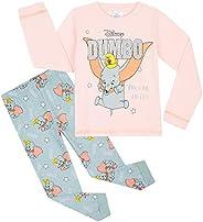 Disney Pijama Niña, Pijama Niña Invierno de Personaje Dumbo, Conjunto 2 Piezas Camiseta Manga Larga y Pantalon
