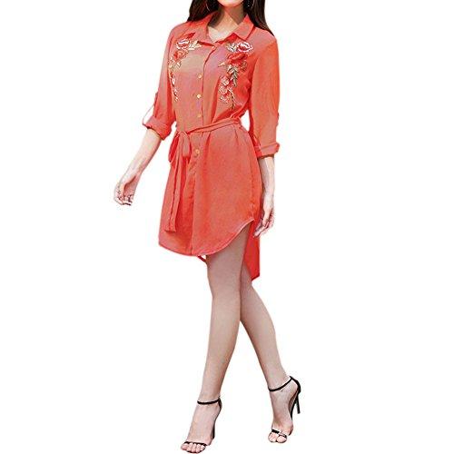 Meijunter Kleider Damen Elegant Sommer Revers Button Down Kleider Petticoat Drucken Stickerei Lange Ärmel Chiffon Kleidrock Rot