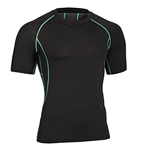 Cockcon Mens Quick Dry Short Sleeve Sports Compression Top MA32 (Black with green line, XL)