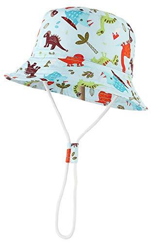 DEMU Baby Sonnenhut Kinder Fischerhut Fischermütze Sonnenschutz UV Schutz Strandhut Unisex Dinosaurier 54cm/4-6 Jahre