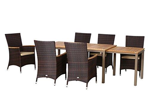 13-teilige Luxus Aluminium Teak Polyrattan Geflecht Gartenmöbelgruppe 'Bay' , 6 Diningsessel, 6 Auflage und ein Ausziehtisch Geneva 160/260x90, braun - maron (braun schwarz)