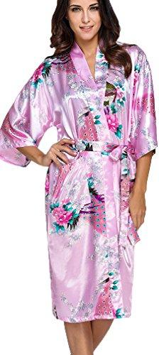 FLYCHEN Damen Satin Kimonos Bademantel lange Nachtwäsche Robe mit Peacock Morgenmantel Pink L