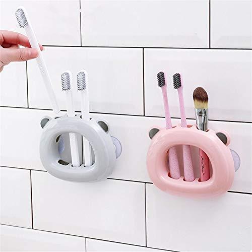 erhuo Saugwandart perforierte Wandhalterung für Badezimmer-Badregal-Zahnhalterung, Rosa + Weiß