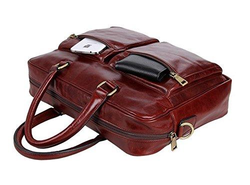 FRAZILL Herren Leder Aktentasche Herren Handtaschen Herren Umhängetasche Herren Laptop Tasche Hohe Qualität JM7270 (Schwarz) Rot