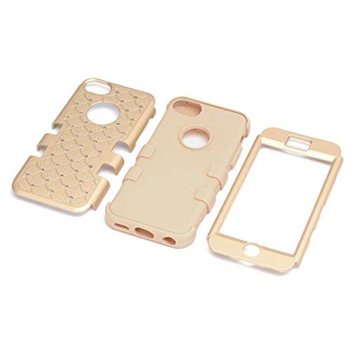 iPhone 5C hüll,Lantier 3 in 1 Combo verziert Rhinestone Kristall Bling Elegant Dual Layer Hybrid Anti Kratzer Shockproof robuste Schutzhülle für Apple iPhone 5C Gold+Gelb Cute Rhinestone Gold+Yellow