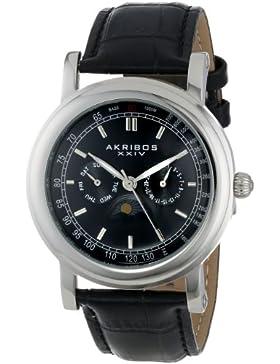 Akribos XXIV Herren Retro Multifunktions silberfarbenes Edelstahl schwarz Lederband Armbanduhr