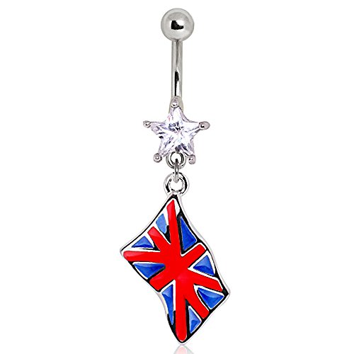 Klar Stern-Kristall UK Großbritannien Flagge baumeln Chirurgenstahl Bauchn 1,6mm x (Geburt Kostüme Uk)