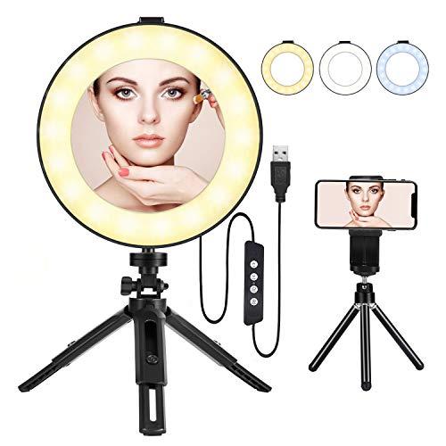 BESTOPE Ringlicht 8 Zoll Tri-Color 3000-6000K dimmbare LED Ringleuchte Kit Lampenstativ Telefonklammer für YouTube Videoaufnahmen Make-up Selfie Video...