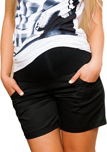 Cargo-jersey-shorts (Mija - Kurze Umstandsshorts / Umstandshose mit Bauchband für Sommer 9038 (38, Schwarz))