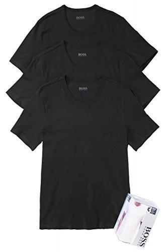 BOSS Hugo Herren T-Shirt Shirt SS RN 3P BM 10111875 02, 3er Pack Black (001)