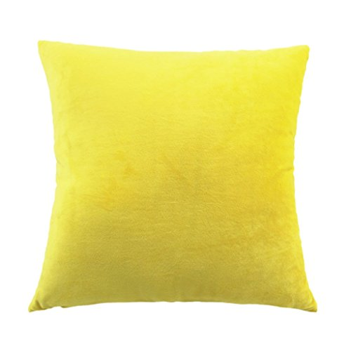 Imported 45x45cm Solid Soft Velvet Pillow Cover Sofa Car Decor Cushion Case Yellow