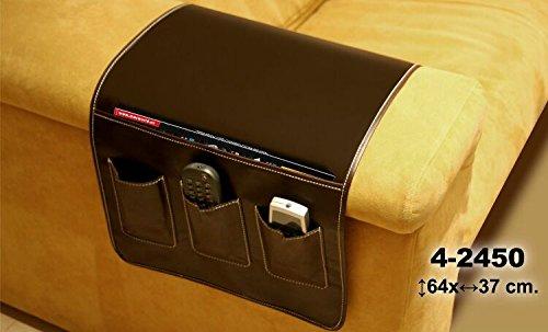 DonRegaloWeb - Portamandos - Organizador de mandos de polipiel en color marrón para colgar del lateral del sofá para 3 mandos y hueco para revistas