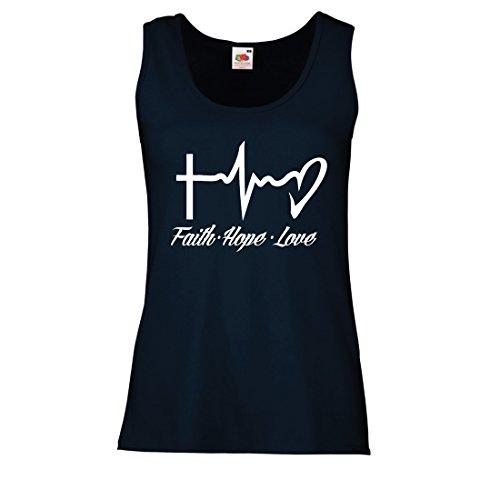 lepni.me Damen Tank-Top Glaube - Hoffnung - Liebe - 1. Korinther 13:13, christliche Zitate und Sprichwörter, religiöse Sprüche (XX-Large Blau Mehrfarben)