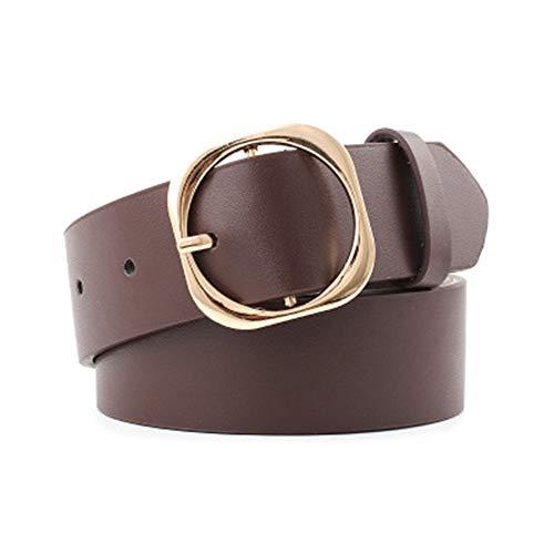 Cocila Fashion Damen Klassischer Retro Ring Schnalle Casual Freizeit Wide Leder Taille Gürtel Gr. Einheitsgröße, braun