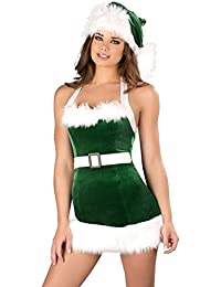 Fancy Dress, Christmas Sexy Costume Lady Women Green Backless Bodycon Mini Dress With Hat For Party Nightclub Cosplay Dressing up